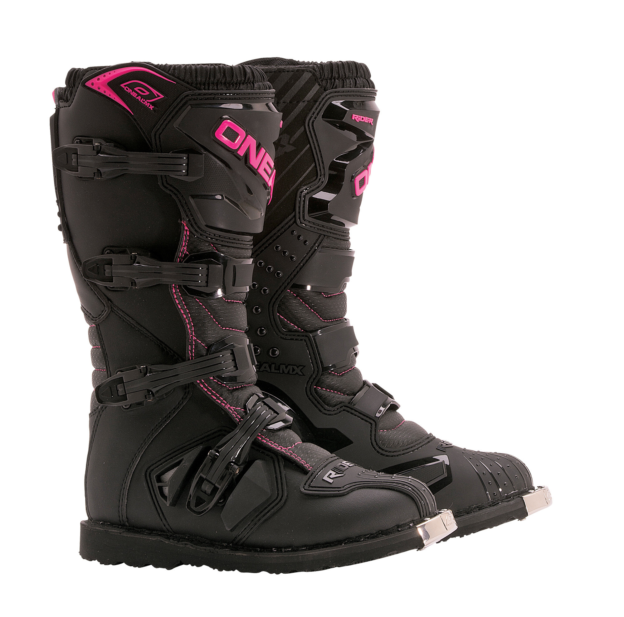 o neal black pink rider womens youth dirt bike boots